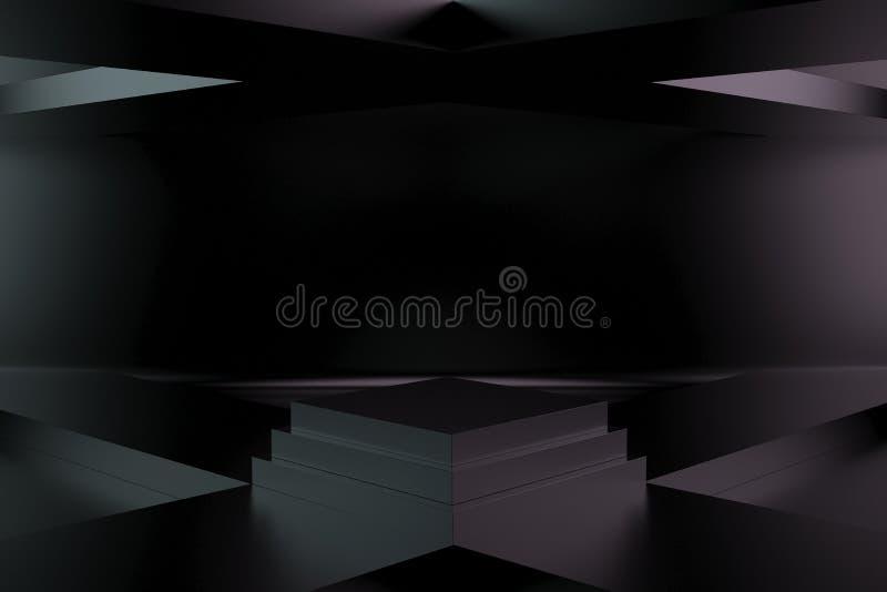 3d rendem, fundo geométrico abstrato, formas primitivas minimalistic, zombaria moderna acima, mostra vazia, exposição da loja, pl ilustração royalty free
