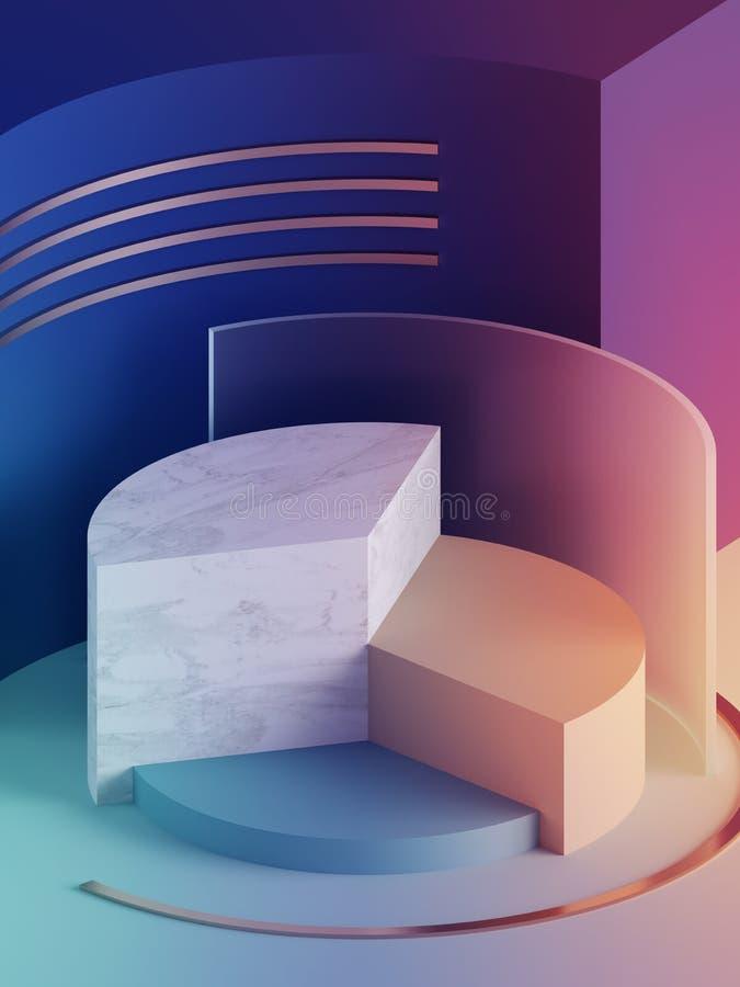 3d rendem, fundo geométrico abstrato moderno, modelo de néon minimalistic, formas primitivas, exposição da loja, cor pastel ultra ilustração stock
