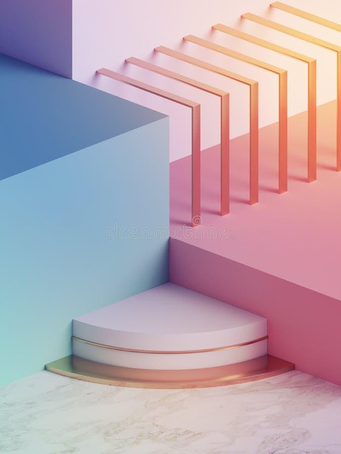 3d rendem, fundo geométrico abstrato moderno, modelo de néon minimalistic, formas primitivas, exposição da loja, cor pastel ultra ilustração do vetor