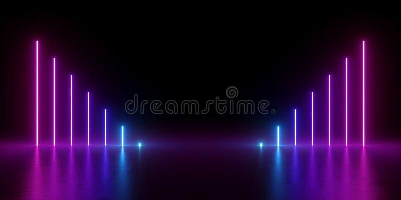 3d rendem, fundo mínimo abstrato, linhas verticais de incandescência, carta, azul elétrico, luzes de néon, espectro ultravioleta, ilustração royalty free
