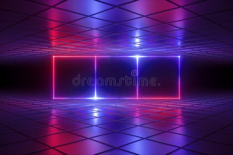 3d rendem, fundo psicadélico abstrato, luzes de néon, grade da realidade virtual, linhas de incandescência, caixa, sala, ultravio ilustração royalty free