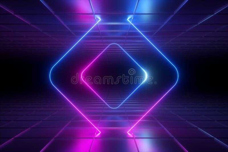 3d rendem, fundo ultravioleta abstrato, luz de néon, quadro quadrado arredondado, linhas de incandescência, túnel, corredor, real ilustração royalty free