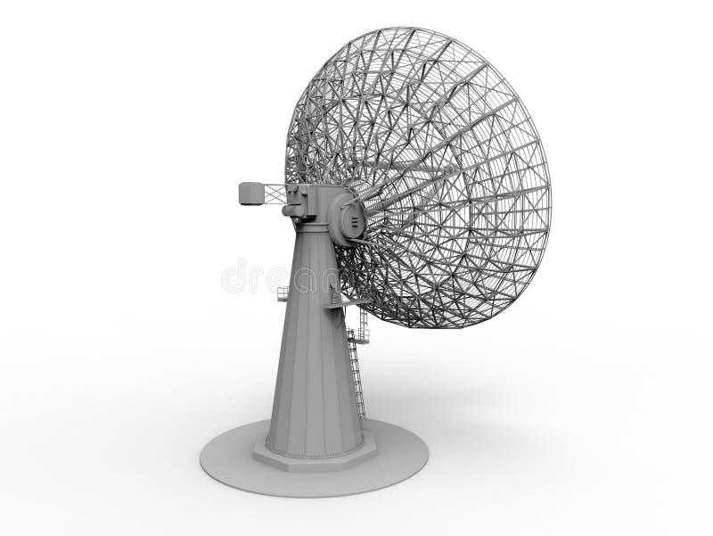 3D rendem - a ideia de perspectiva de uma antena parabólica ilustração do vetor