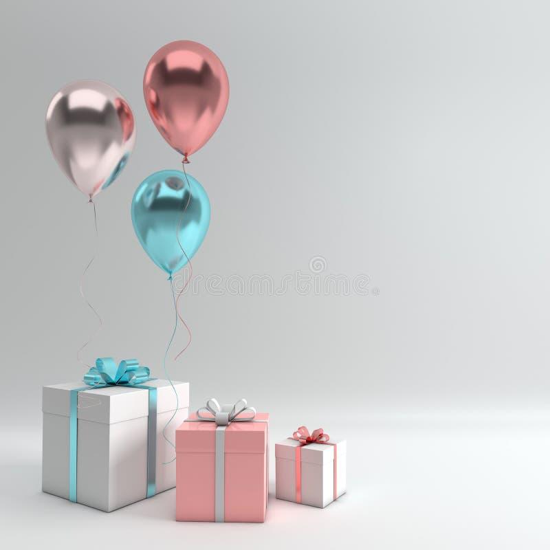 3d rendem a ilustração da prata realística, balões azuis e cor-de-rosa e caixa de presente do ouro com curva no fundo branco Espa ilustração stock