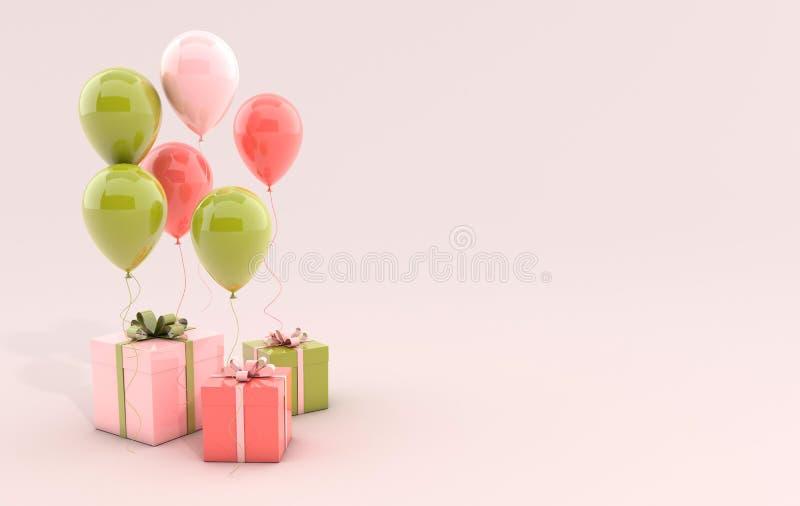 3d rendem a ilustração de balões realísticos e da caixa de presente corais, verdes e cor-de-rosa com curva no fundo branco Espaço ilustração royalty free
