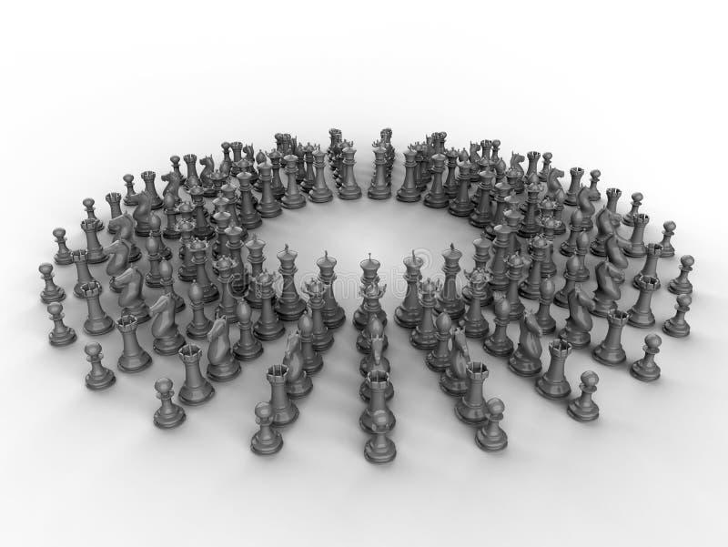 3D rendem a ilustração - disposição circular das partes de xadrez ilustração do vetor