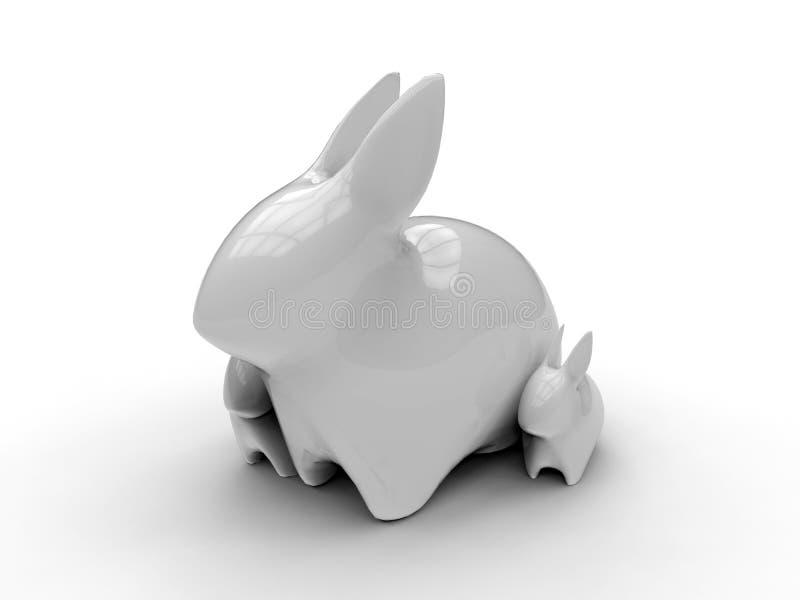 3D rendem a ilustração - esculturas do jardim do coelho ilustração do vetor