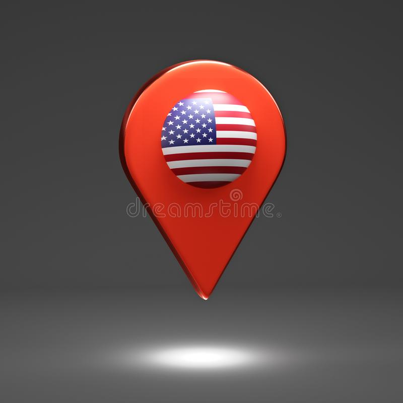 3d rendem a ilustração Ponteiro do mapa com bandeira americana Fundo do grunge da independência Day ilustração stock