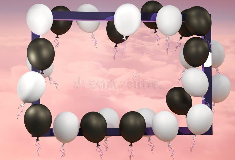 3d rendem a ilustração Propaganda preta de sexta-feira Balões pretos, brancos e quadro azul ilustração stock