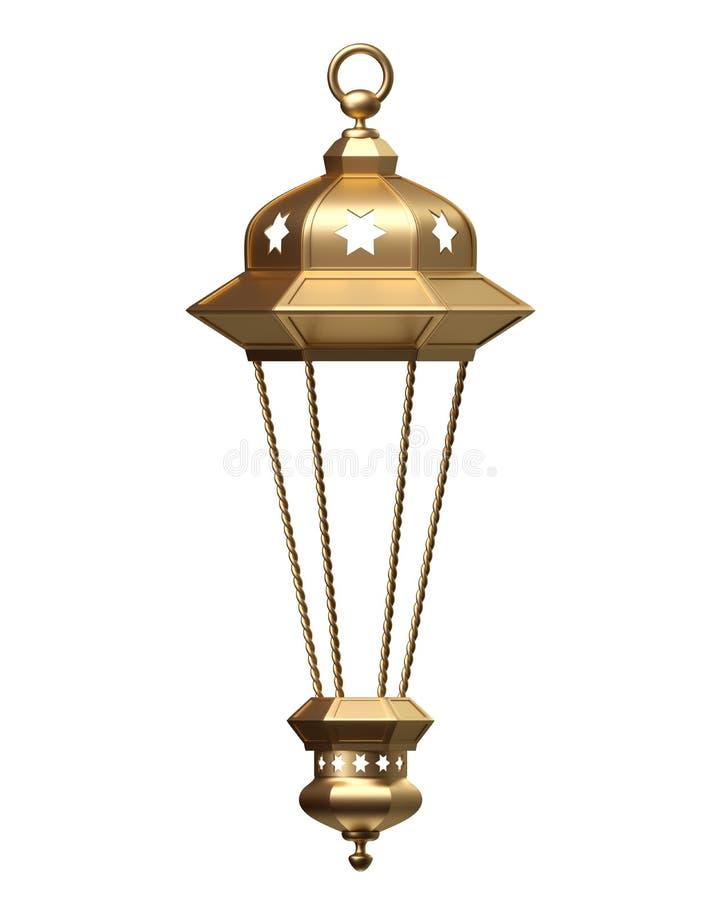 3d rendem, lanterna dourada, lâmpada mágica, decoração árabe tribal, projeto do arabesque, Ramadan Kareem, objeto isolado ilustração stock