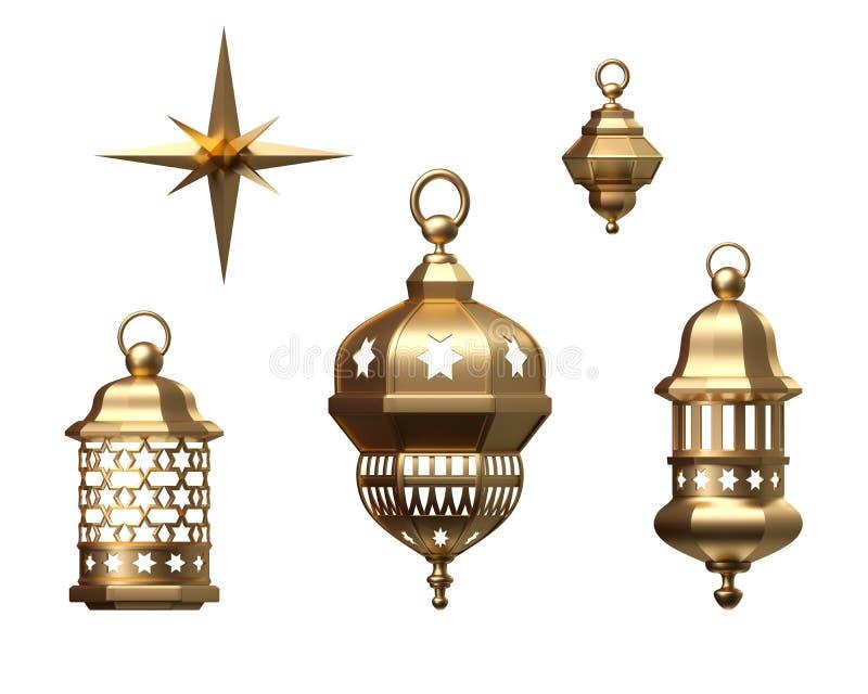 3d rendem, lanterna dourada, lâmpada mágica, estrela, decoração árabe tribal, coleção isolada dos ornamento, grupo de elementos d ilustração stock