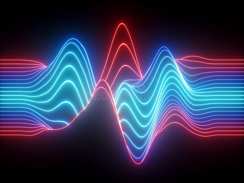 3d rendem, linhas de néon onduladas azuis vermelhas, equalizador virtual da música eletrônica, visualização da onda sadia, sumári fotografia de stock