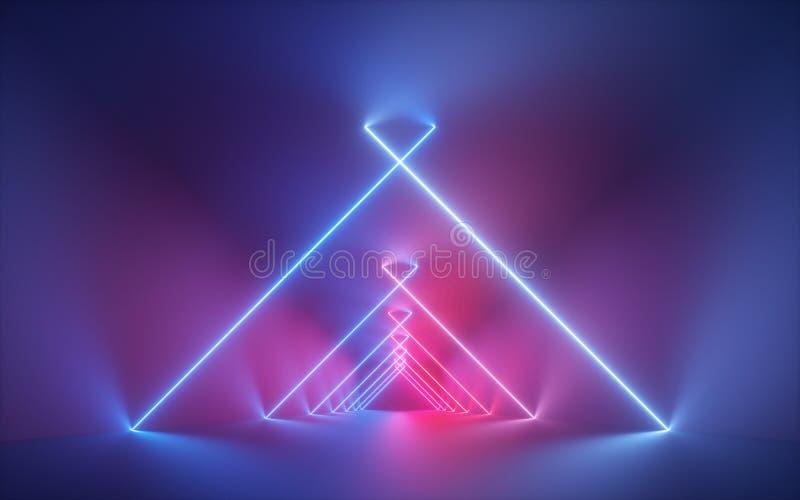 3d rendem, luz de néon azul cor-de-rosa, linhas de incandescência, corredor iluminado, túnel, sala vazia, espaço virtual, luz ult imagem de stock