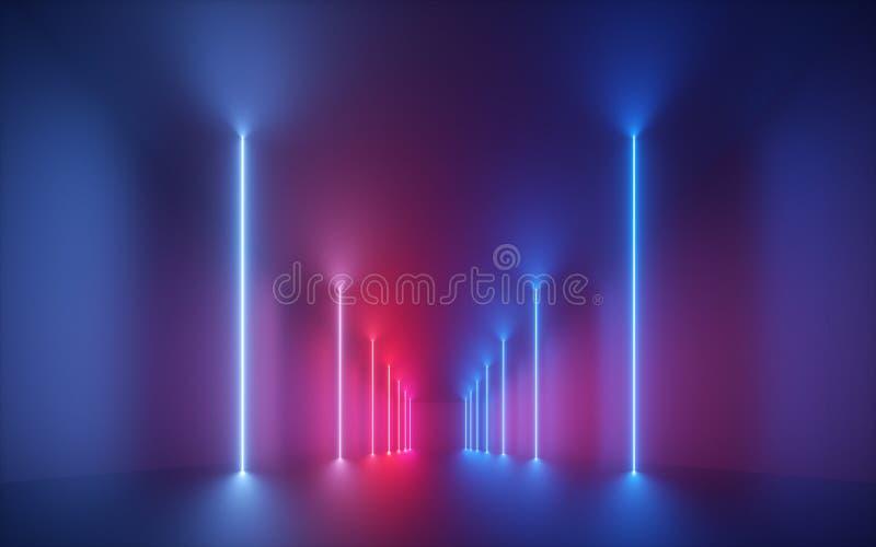 3d rendem, luz de néon azul cor-de-rosa, linhas de incandescência verticais, corredor iluminado, túnel, sala vazia, espaço virtua imagem de stock