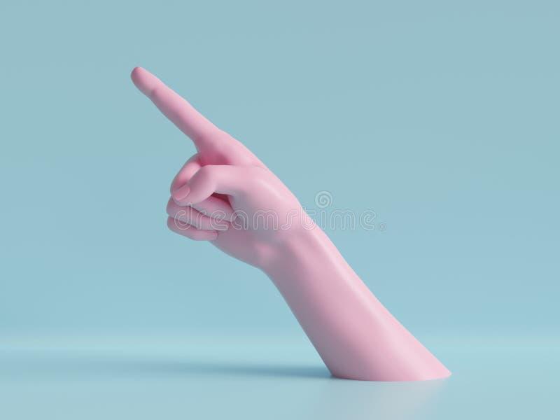 3d rendem, mão fêmea, dedo acima, apontando o gesto, símbolo do sentido, exposição da loja, fundo mínimo da forma, ilustração royalty free
