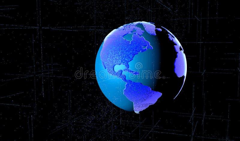 3D rendem a matriz de Digitas do planeta da terra caracterizaram a rede mundial ilustração do vetor