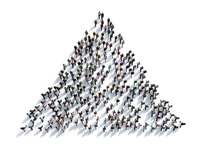 3D rendem a multidão de povos no fundo branco da vista superior ilustração do vetor