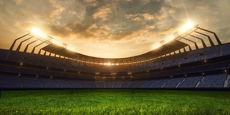 3d rendem a noite emptry do estádio imagens de stock royalty free