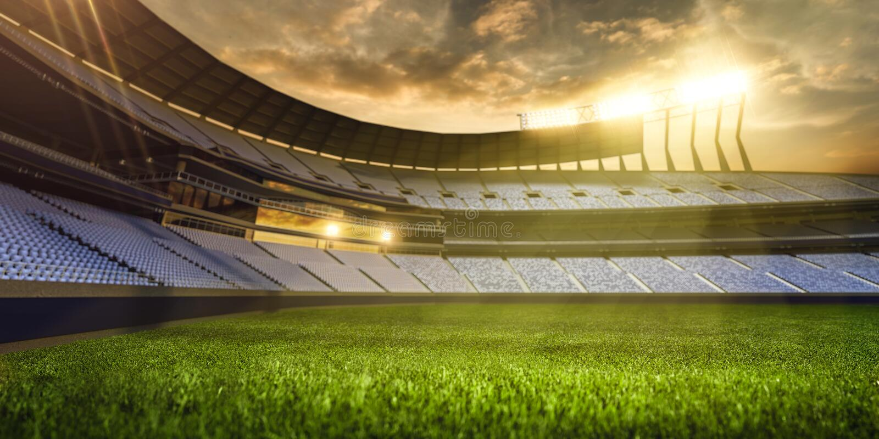 3d rendem a noite emptry do estádio ilustração royalty free