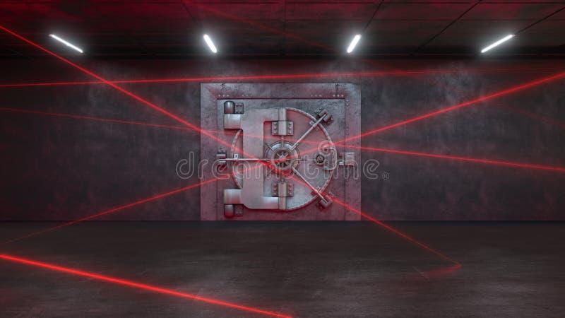 3d rendem o banco são guardados por um sistema do laser ilustração do vetor