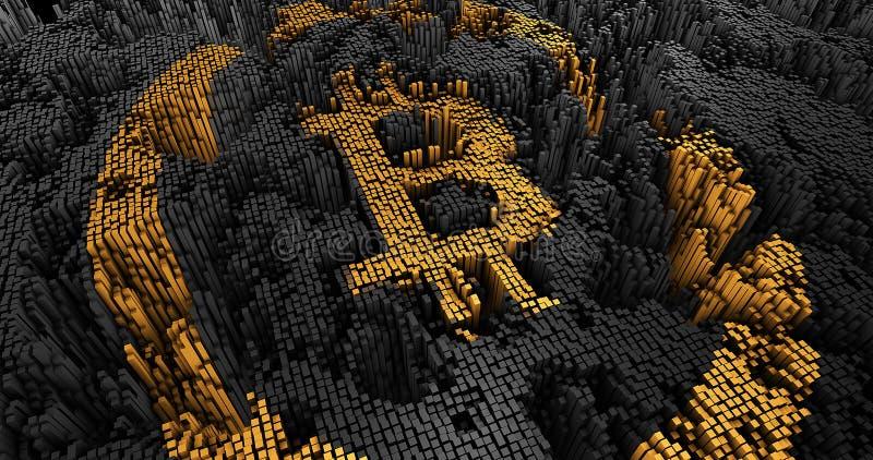 3D rendem o bitcoin abstrato de muitos quadrados ilustração stock