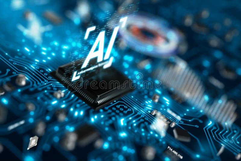 3D rendem o chipset da unidade central do processador do processador central da tecnologia de inteligência artificial do AI na pl imagens de stock royalty free