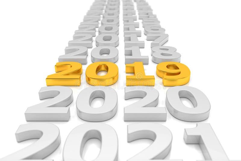 3d rendem - o conceito 2019 do espaço temporal do ano novo - o ouro ilustração stock