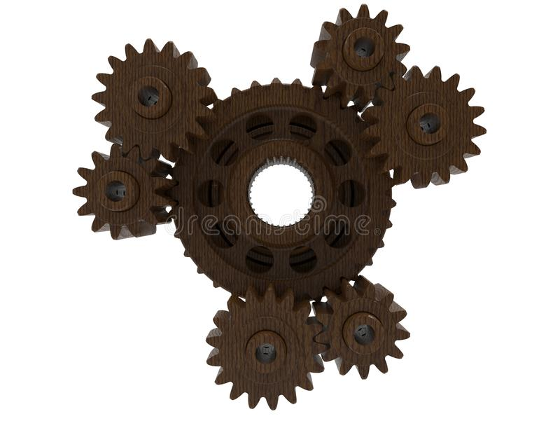 3D rendem - o conjunto de madeira das engrenagens ilustração do vetor