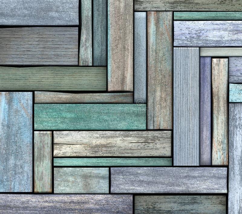 3d abstratos rendem o contexto de madeira da prancha da madeira do verde azul fotografia de stock royalty free