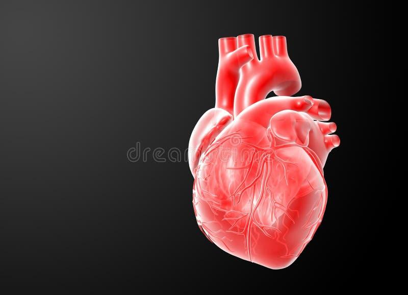 3d rendem o coração vermelho ilustração stock