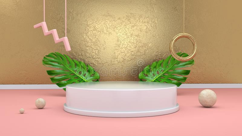 3d rendem o fundo abstrato com p?dio, esferas, elementos dourados e folhas de palmeira no estilo cor-de-rosa m?nimo do projeto de foto de stock royalty free