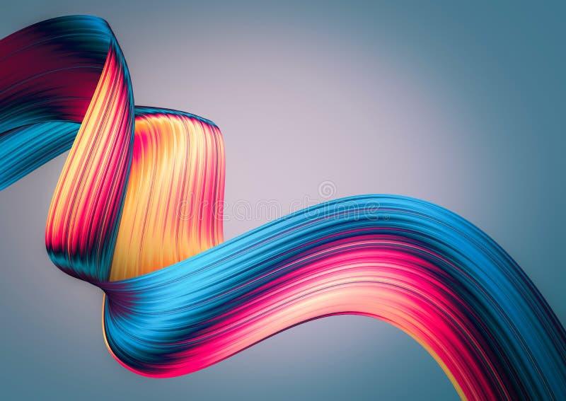 3D rendem o fundo abstrato Formas torcidas coloridas no movimento Arte digital gerada por computador ilustração do vetor