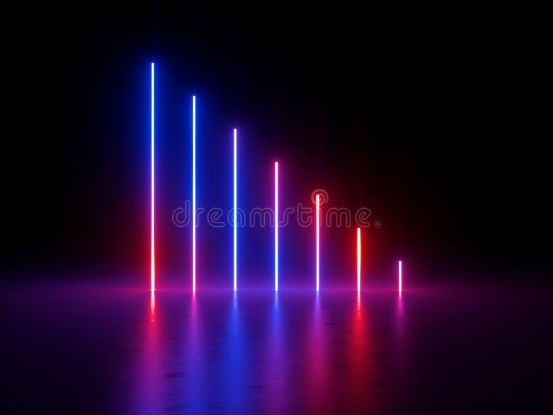 3d rendem, o fundo abstrato ultravioleta, luzes de néon azuis vermelhas, linhas de incandescência verticais, mostra do laser, clu ilustração stock