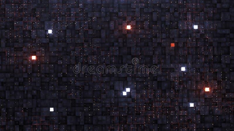 3d rendem o fundo de Digitas com circuito e o cubo de néon ilustração royalty free
