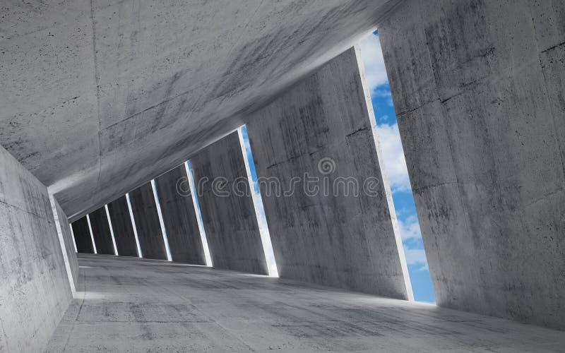 3d rendem o fundo, interior concreto vazio abstrato ilustração stock