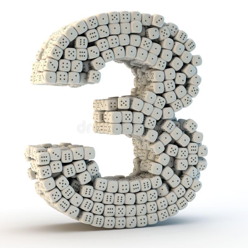 3D rendem o número três ilustração royalty free