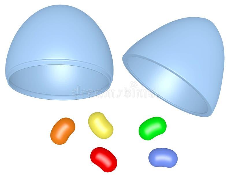 3d rendem o ovo da páscoa plástico com Jelly Beans ilustração do vetor