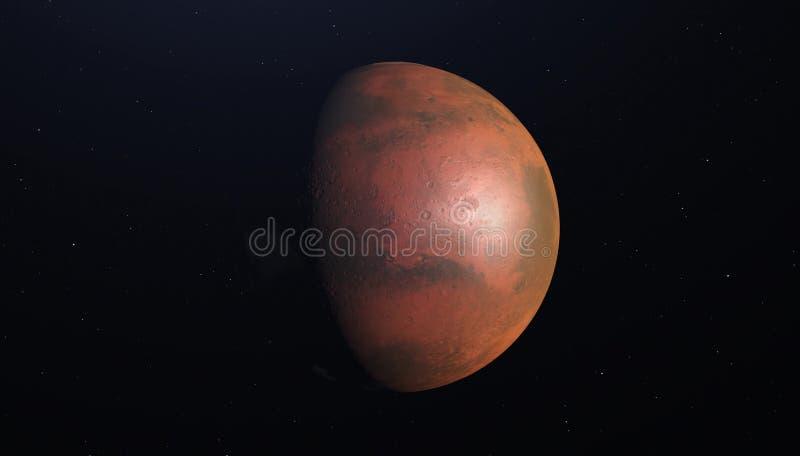 3D rendem o planeta Marte com estrelas, textura de alta resolução ilustração do vetor