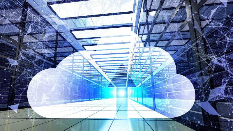 3d rendem o projeto de computação da segurança da rede do banco de dados da nuvem com tonelada do plexo e ícone de néon da nuvem  ilustração royalty free