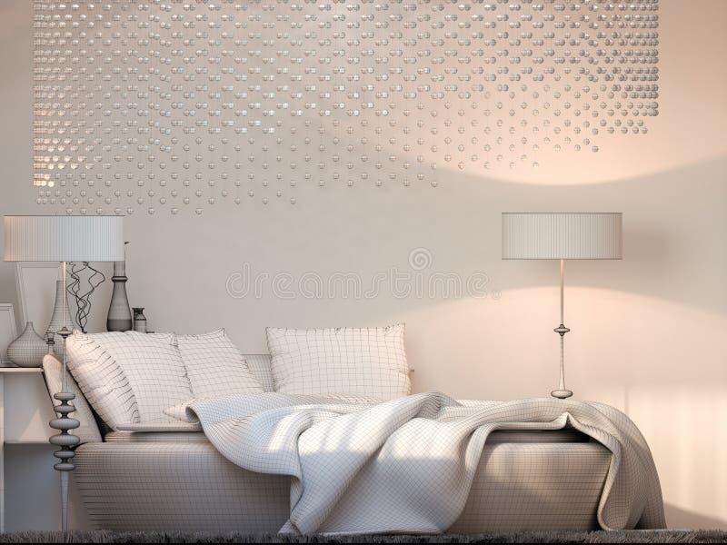 3d rendem o quarto do design de interiores indicado na malha do polígono ilustração royalty free