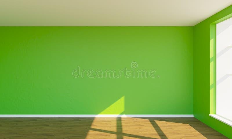 3d rendem o quarto verde ilustração stock