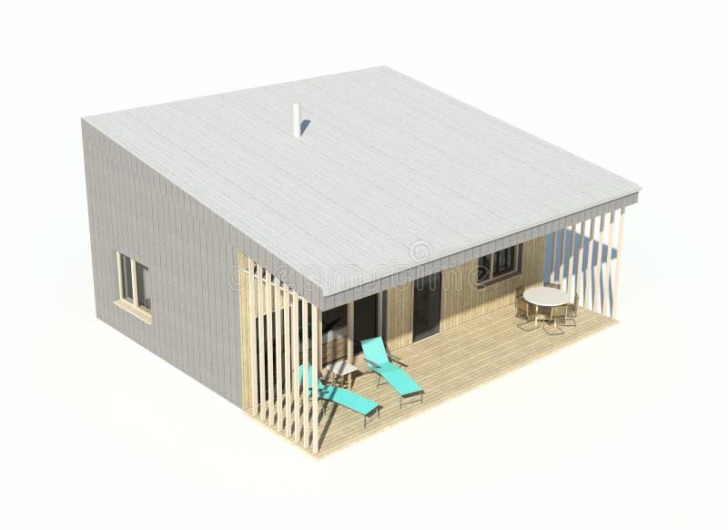 3d rendem - o visualisation isolado da única casa da família ilustração do vetor