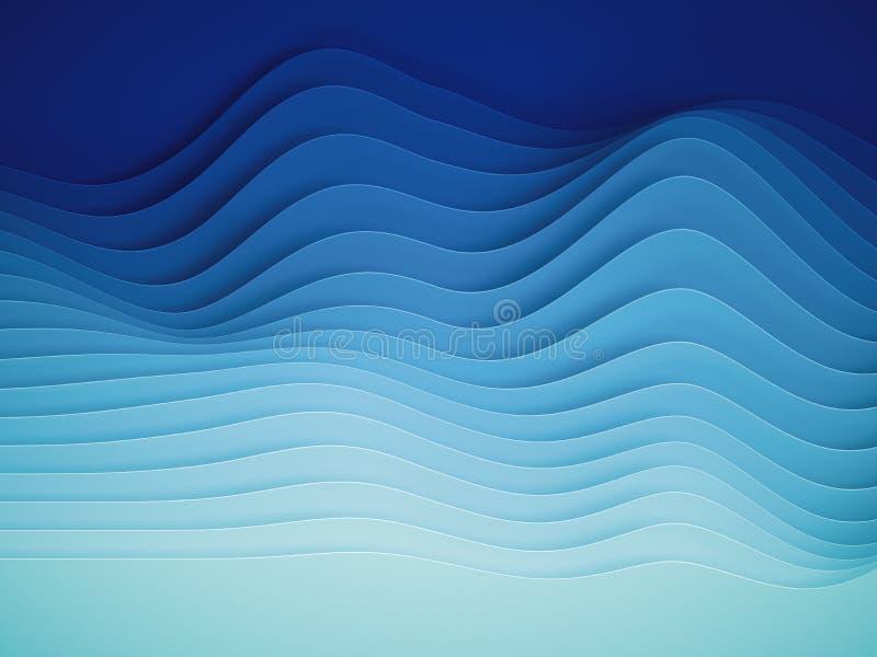 3d rendem, papel abstrato d?o forma ao fundo, camadas cortadas, ondas, montes, mistura do inclina??o, equalizador ilustração royalty free