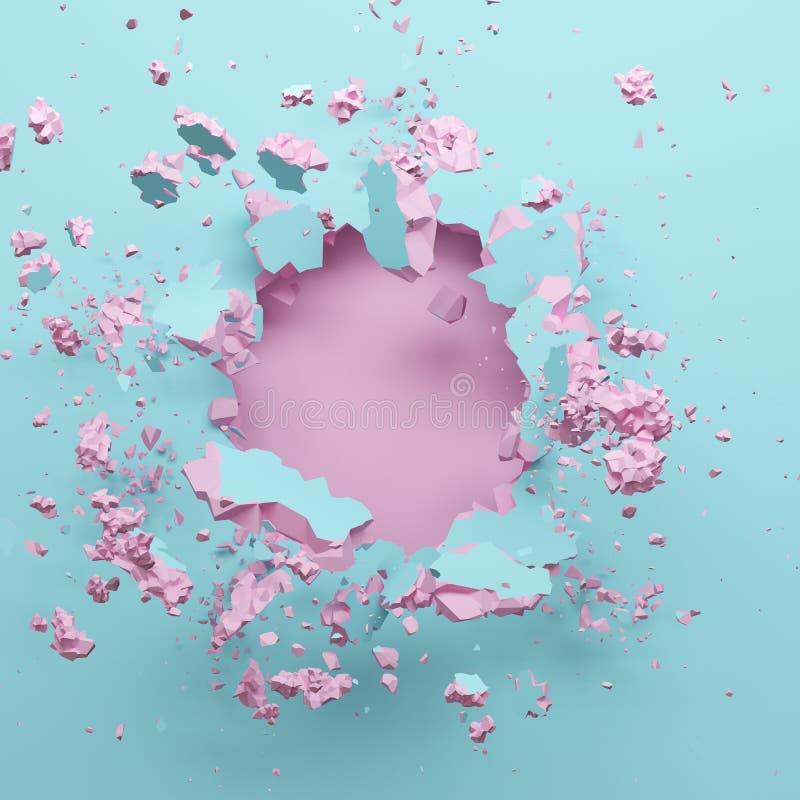 3d rendem, parede quebrada azul cor-de-rosa pastel, fundo abstrato da forma, espaço vazio para o texto, explosão, buraco de bala, ilustração do vetor