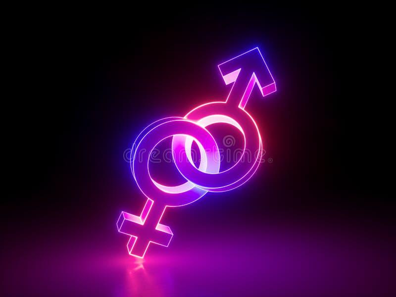 3d rendem, pares heterossexuais, ligaram símbolos do gênero, luz cor-de-rosa ultravioleta, sinal de incandescência de néon retro  ilustração do vetor
