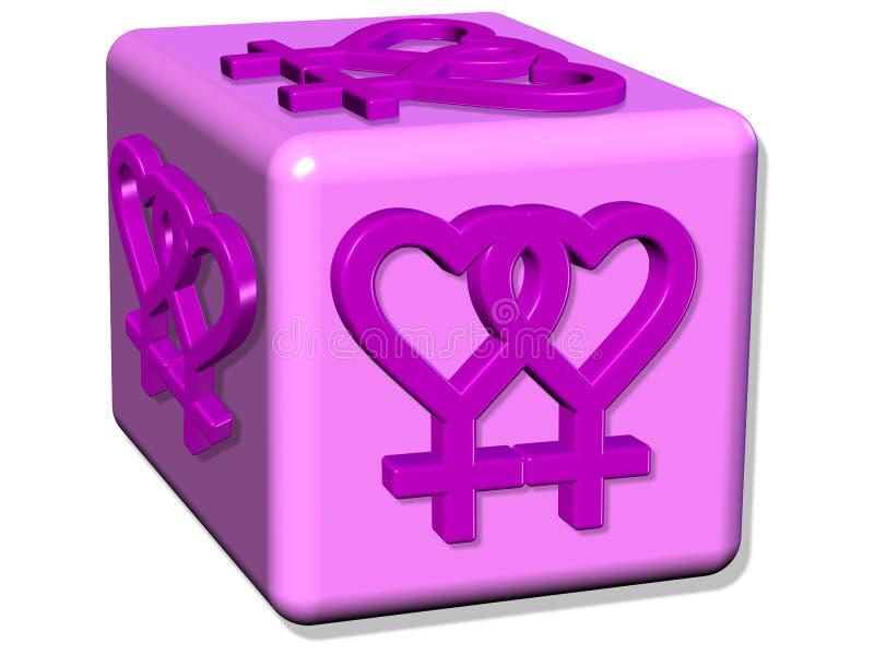 3D rendem pares lésbicas do sinal na ilustração do amor ilustração do vetor