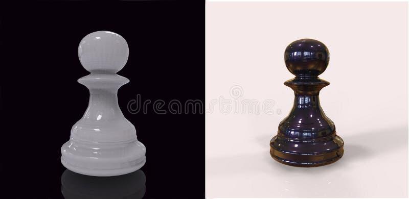 3d rendem partes de xadrez preto e branco ilustração royalty free