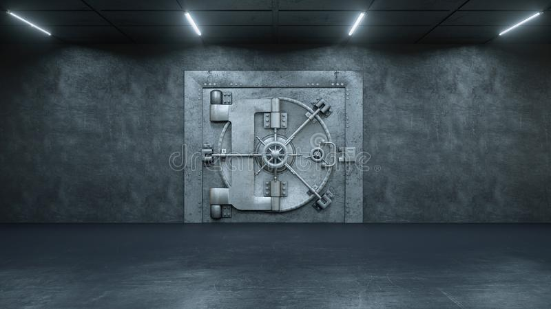 3d rendem a porta do cofre-forte no banco ilustração royalty free