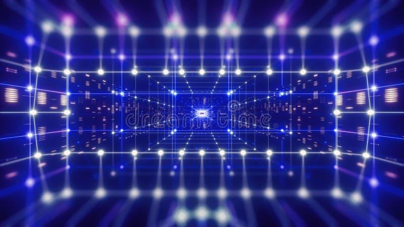 3d rendem, realidade virtual de néon colorida, fundo geométrico abstrato Rede de dados virtuais, grade azul de néon, linhas ponto ilustração stock