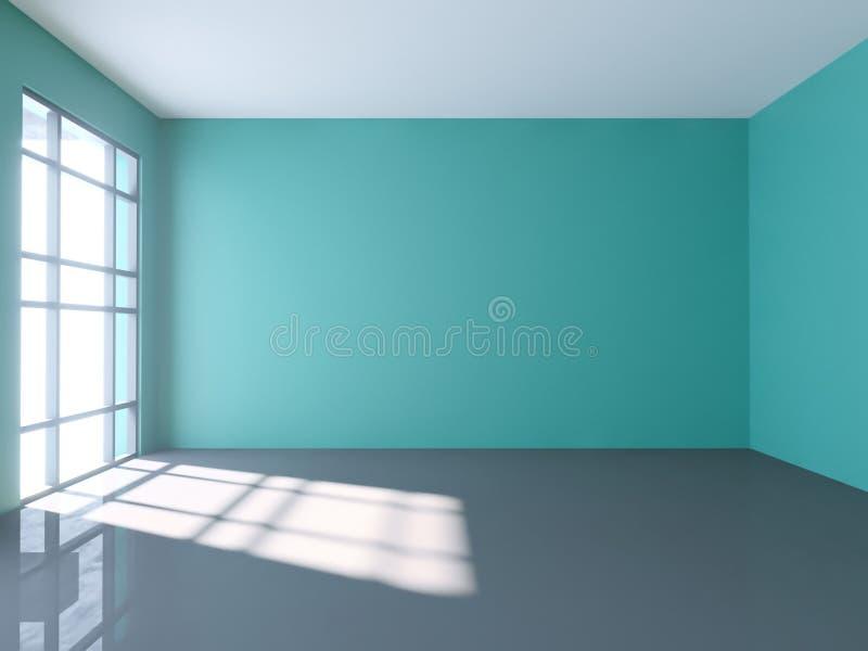 3d rendem sumário largo do interior vazio iluminado do corredor feito do concreto cinzento ilustração do vetor